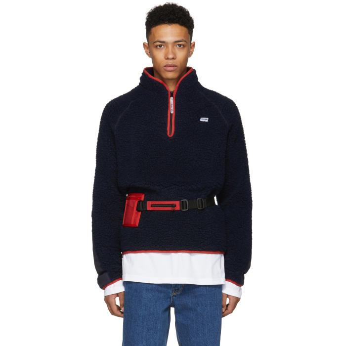 Martine Rose Navy Fleece Track Sweater