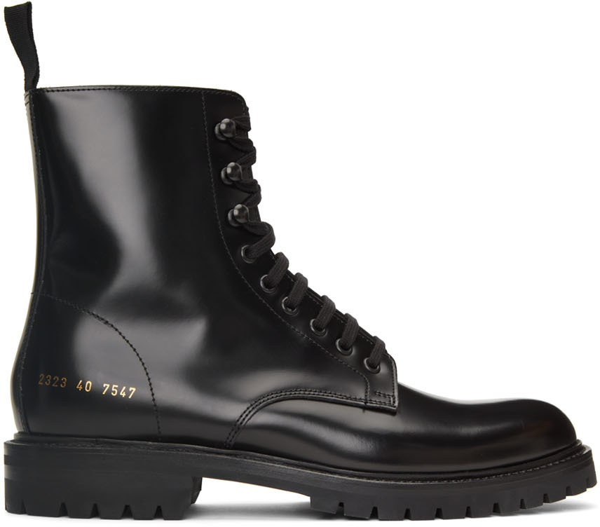 Photo: Common Projects Black Combat Lace-Up Boots