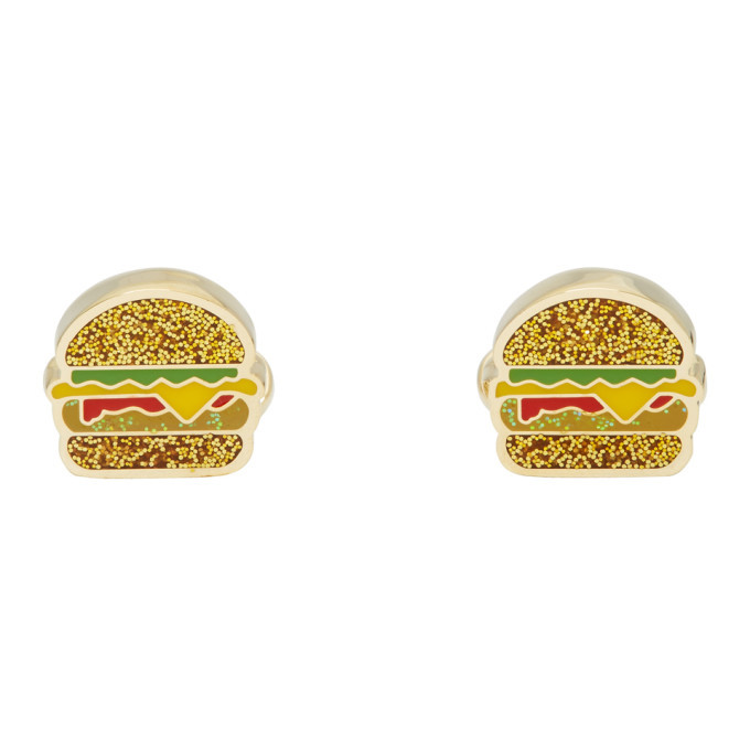Photo: Paul Smith Gold and Multicolor Glitter Junk Food Cufflinks