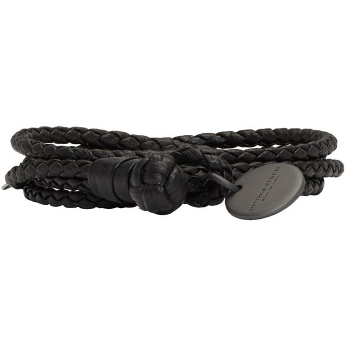 Bottega Veneta Black Intrecciato Skinny Double Wrap Bracelet