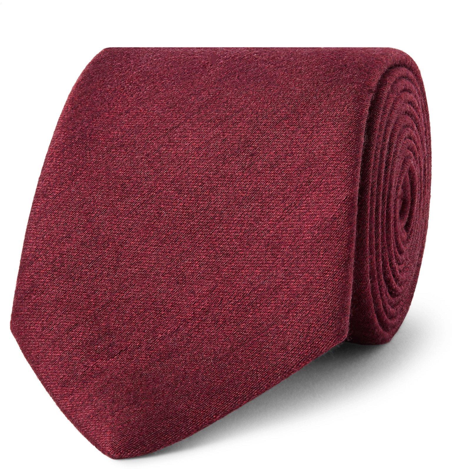 Photo: Charvet - 7.5cm Mélange Slub Silk Tie - Burgundy