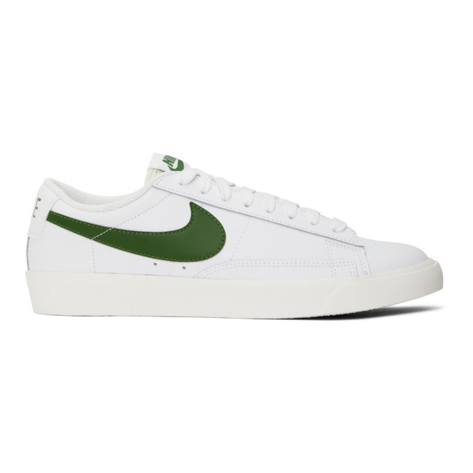 Photo: Nike White and Green Leather Blazer Low Sneakers