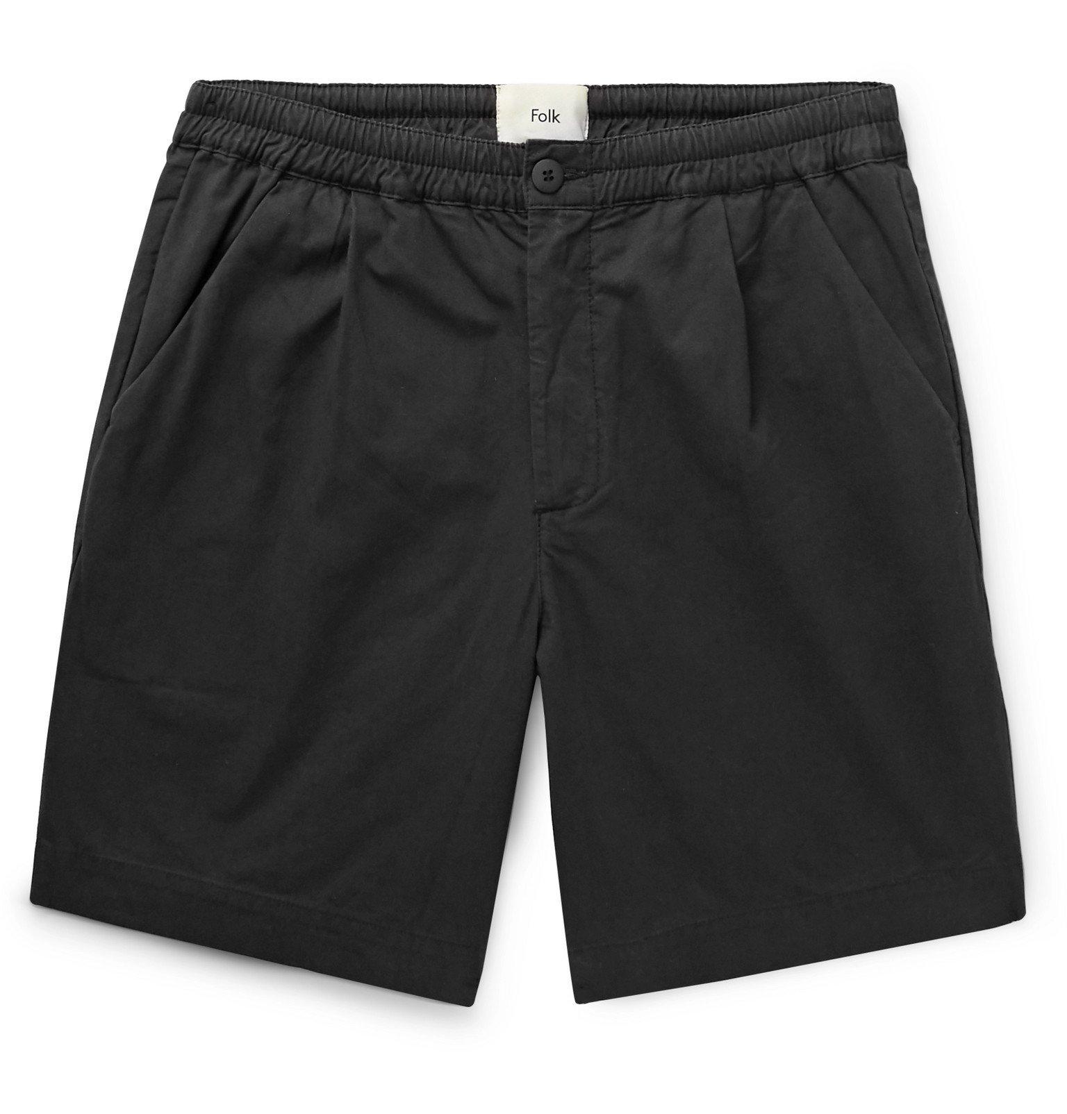 Photo: Folk - Loom Garment-Dyed Cotton-Canvas Shorts - Black