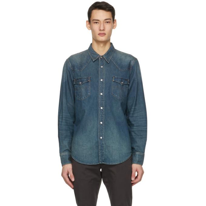 Photo: RRL Blue Denim Western Shirt