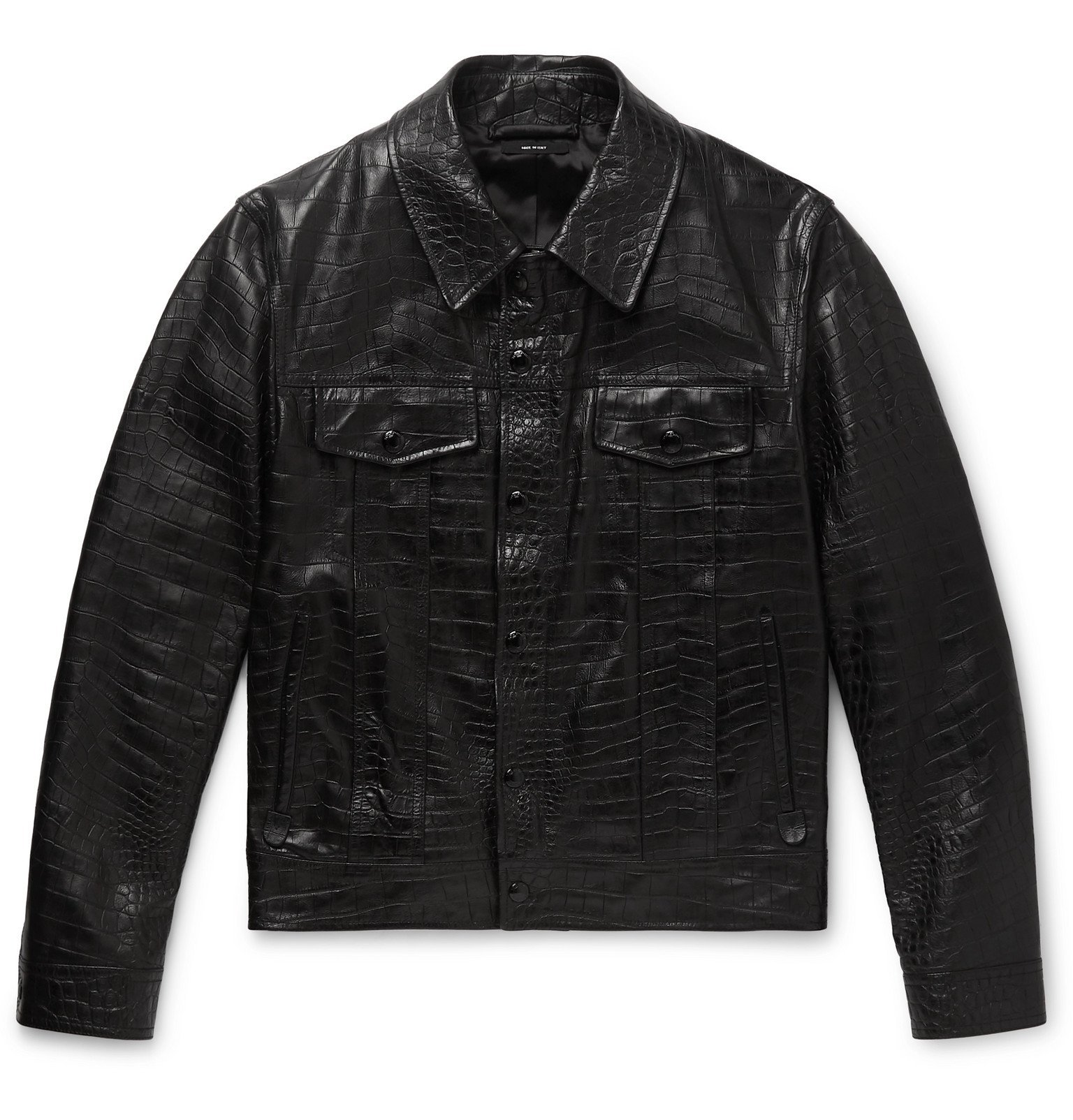 Photo: TOM FORD - Slim-Fit Croc-Effect Leather Trucker Jacket - Black