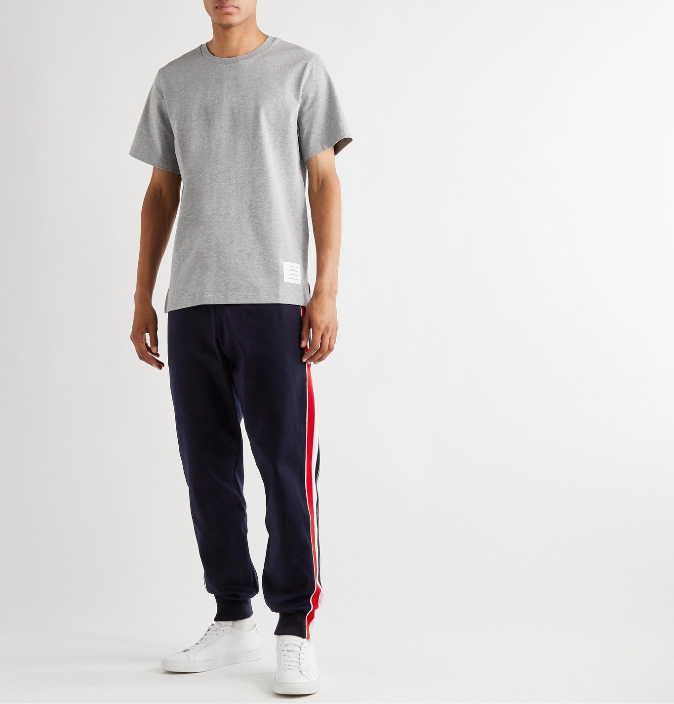 Thom Browne - Tapered Grosgrain-Trimmed Striped Cotton-Jersey Sweatpants - Blue