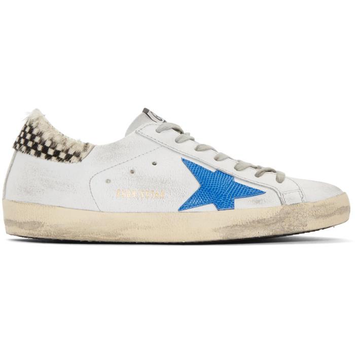Golden Goose White & Blue Crack Check Superstar Sneakers G21wC6xTsK