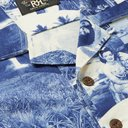 RRL - Camp-Collar Printed Cotton-Jersey Shirt - Blue