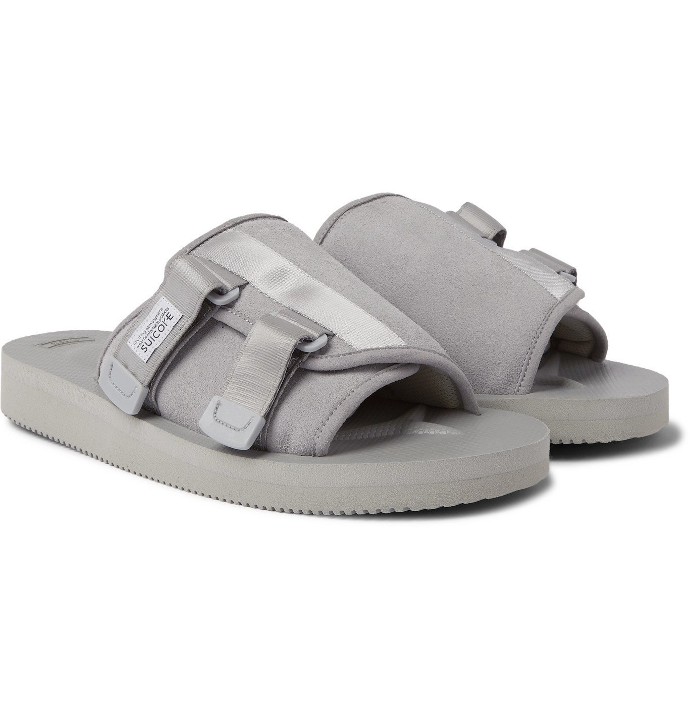 Photo: Suicoke - KAW-VS Webbing-Trimmed Suede Sandals - Gray
