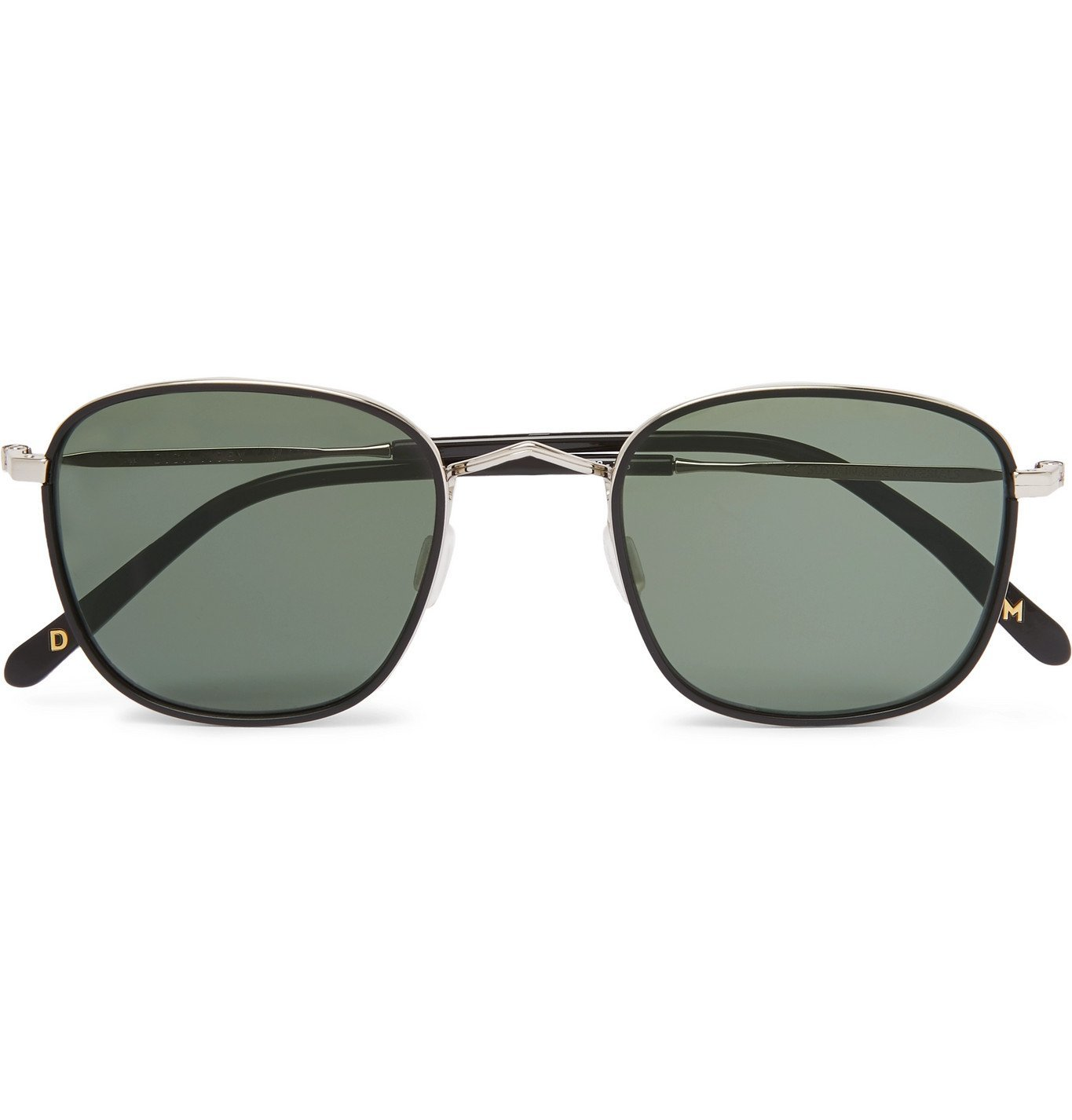 Photo: Dick Moby - Geneve Square-Frame Silver-Tone Sunglasses - Black