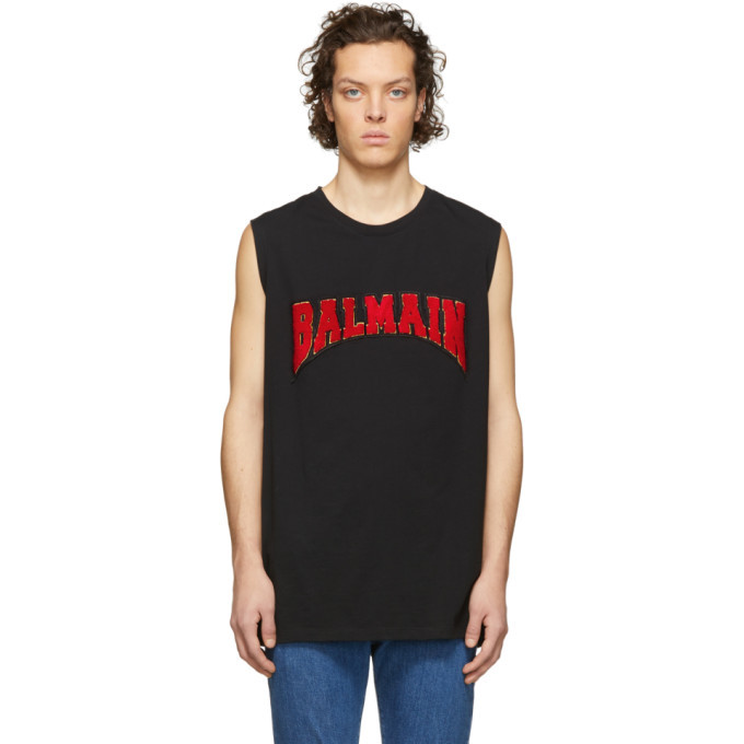 Photo: Balmain Black Cotton Logo Sleeveless T-Shirt