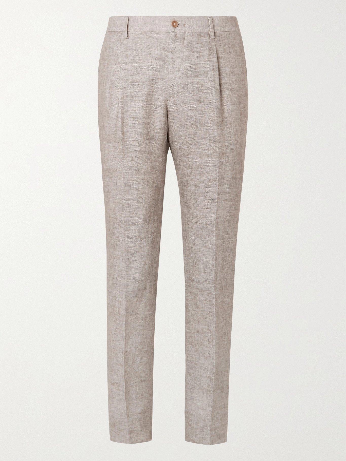 Photo: GIORGIO ARMANI - Mélange Linen Suit Trousers - Gray - IT 46