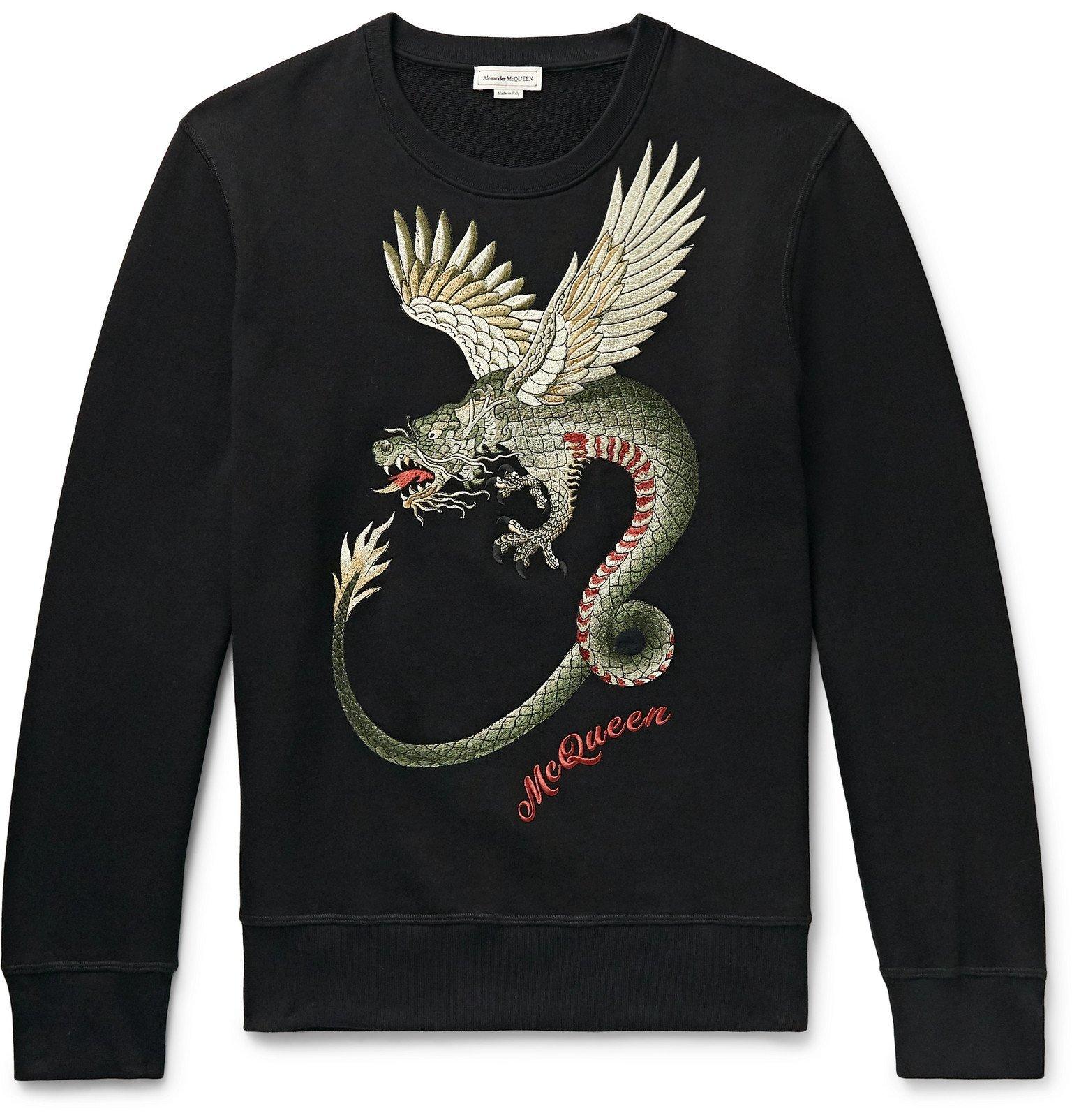 Photo: Alexander McQueen - Embroidered Loopback Cotton-Jersey Sweatshirt - Black
