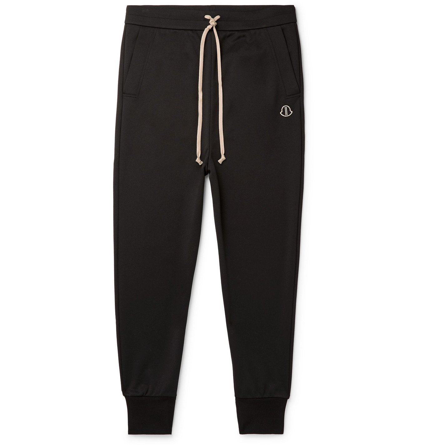 Photo: Rick Owens - Moncler Tapered Acetate Logo-Appliquéd Jersey Track Pants - Black