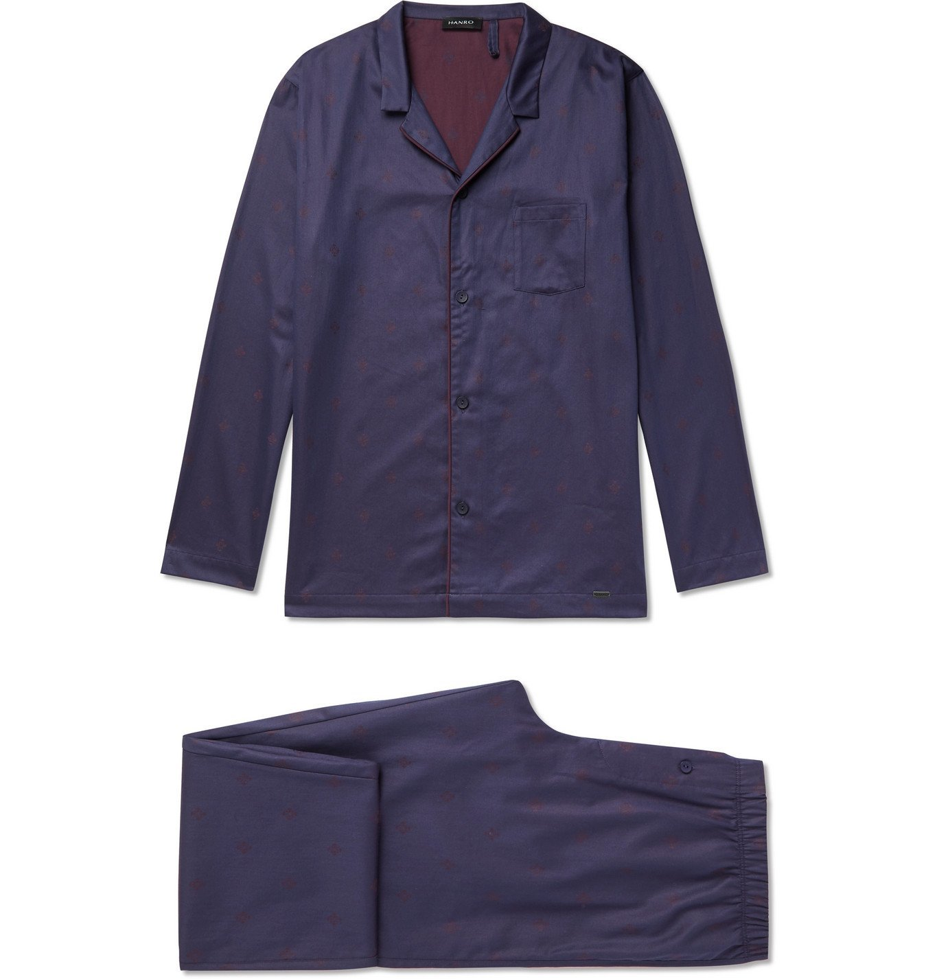 Photo: Hanro - Leano Camp-Collar Piped Cotton-Jacquard Pyjama Set - Blue