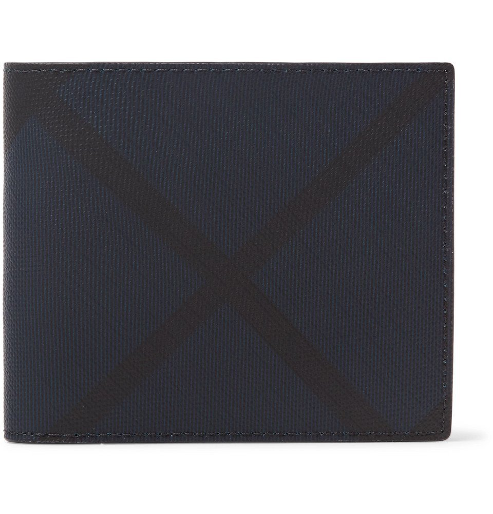 1ab5a18e558 Burberry - Checked Coated-Canvas and Leather Billfold Wallet - Men - Navy