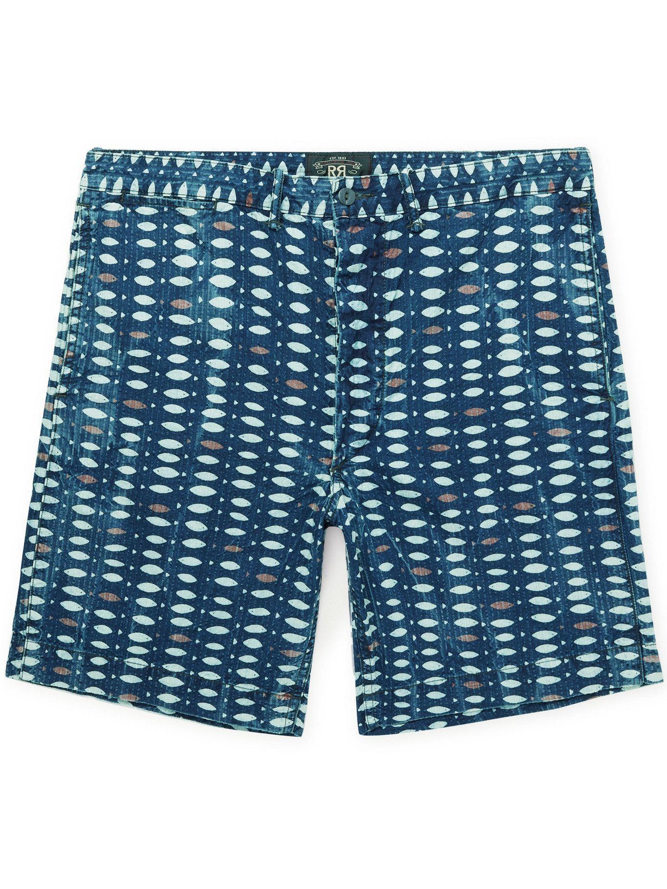 RRL - Sands Printed Cotton-Seersucker Shorts - Blue