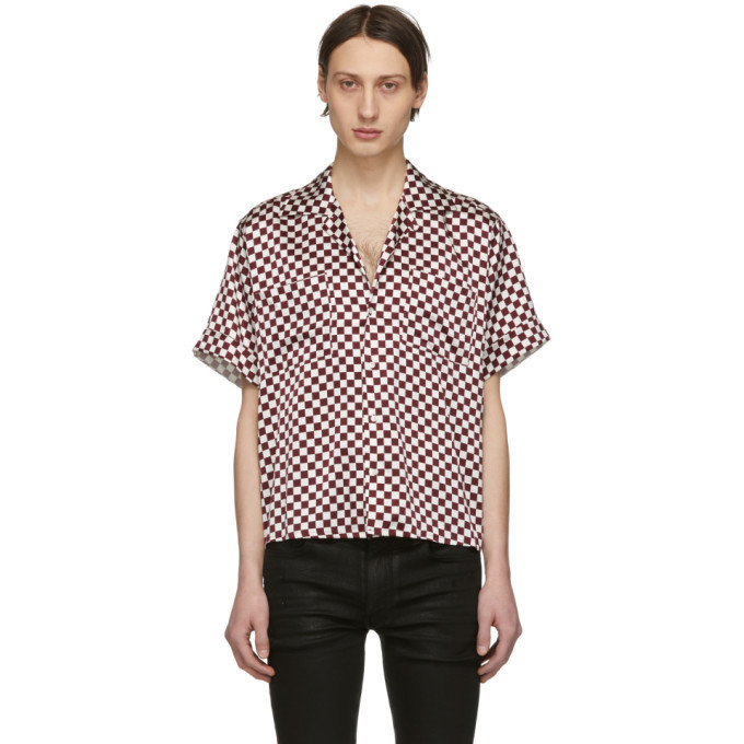 Photo: Enfants Riches Deprimes White and Burgundy Check Silk Button Down Shirt