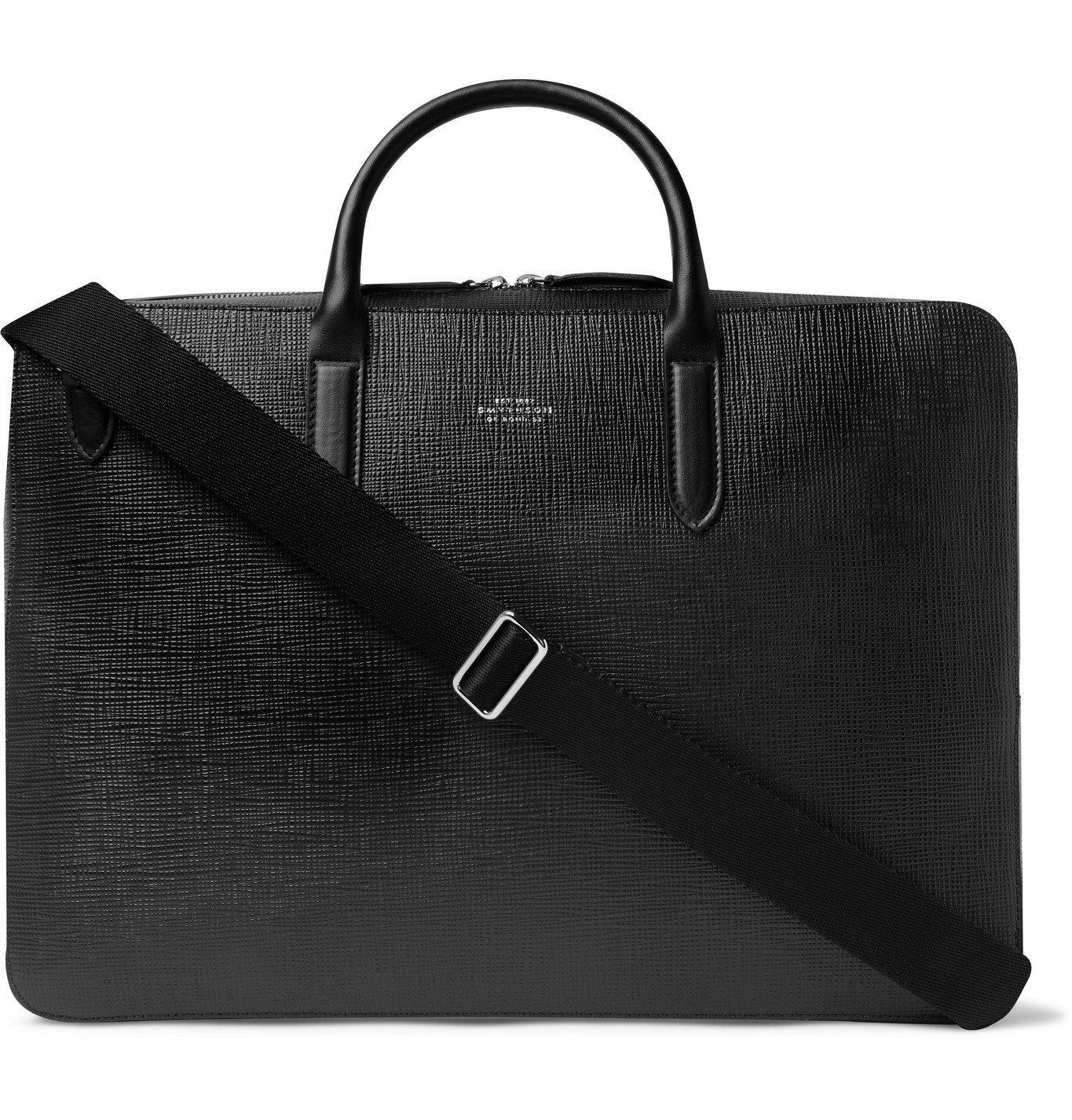 Smythson - Panama Cross-Grain Leather Briefcase - Black