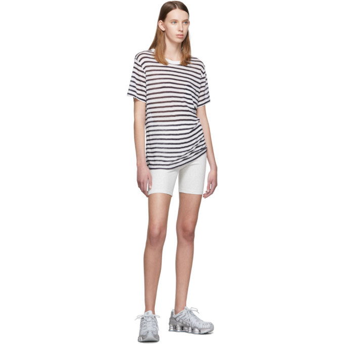 alexanderwang.t White and Navy Striped Slub Pocket T-Shirt
