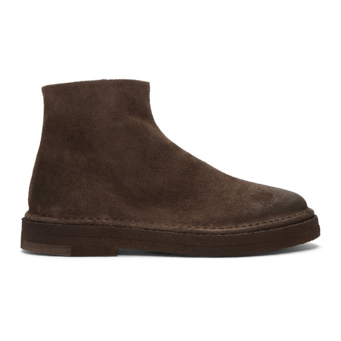 Photo: Marsell Brown Suede Parapa Tronchetto Zip Boots