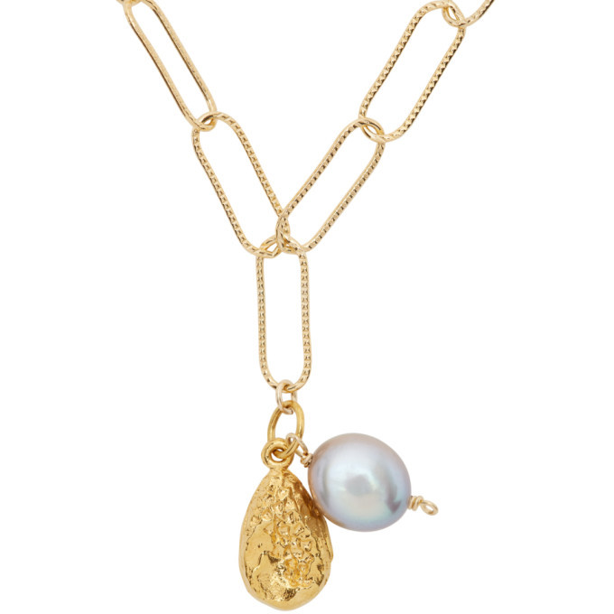 Alighieri SSENSE Exclusive Gold Pearl The Solitary Tear At Dusk Necklace