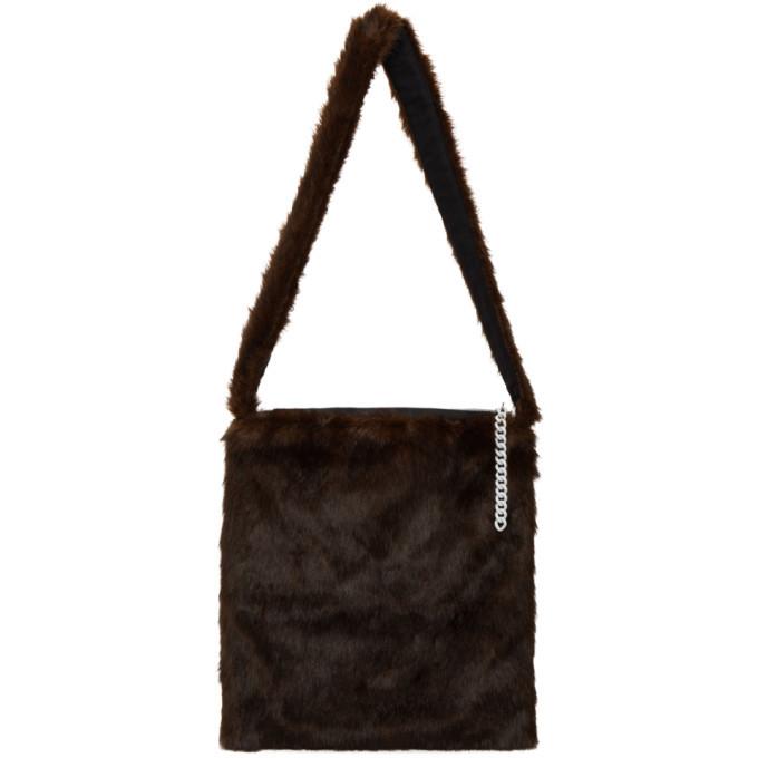Raf Simons Brown Faux-Fur Tote Bag