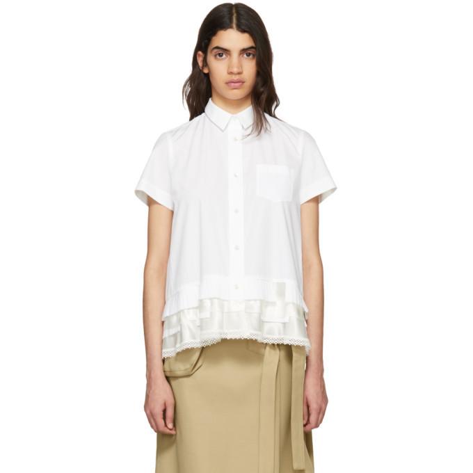 Sacai White Embroidered Hem Shirt