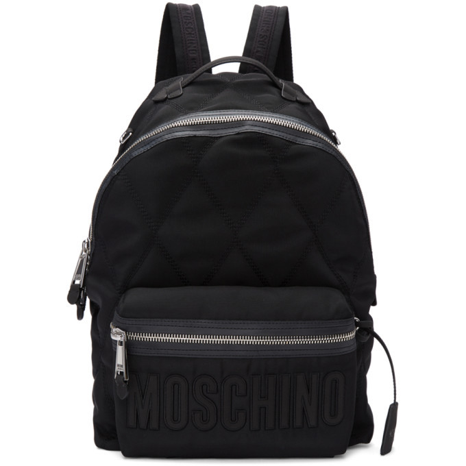 Photo: Moschino Black Quilted Nylon Backpack