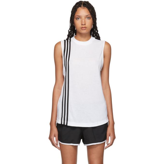 adidas Originals White 3-Stripe Muscle Tank Top