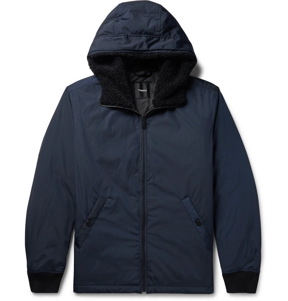 Photo: Theory - Vernon Faux Shearling-Trimmed Shell Hooded Down Jacket - Navy