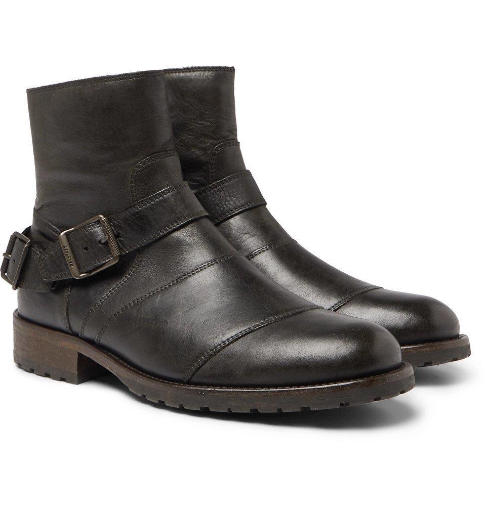 Belstaff - Trialmaster Distressed Leather Boots - Men - Black