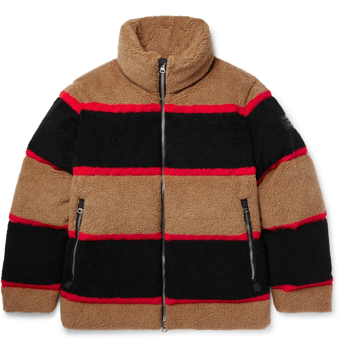 Photo: BURBERRY - Bradfield Logo-Appliquéd Striped Fleece Down Jacket - Brown