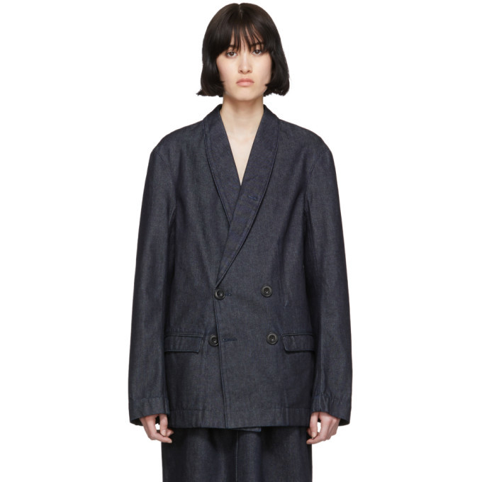 Photo: Lemaire SSENSE Exclusive Navy Denim Double Breasted Jacket