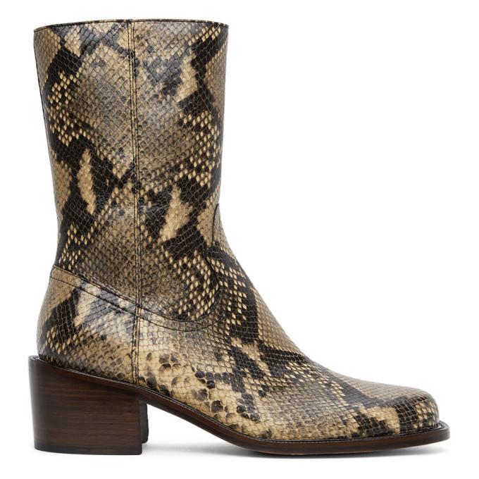 Photo: Dries Van Noten Beige Snake Zip-Up Boots