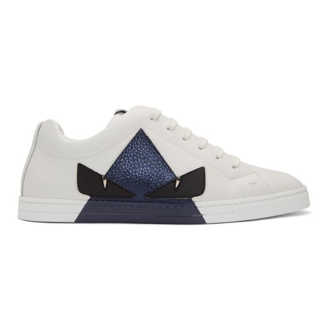 Photo: Fendi White Bag Bugs Sneakers