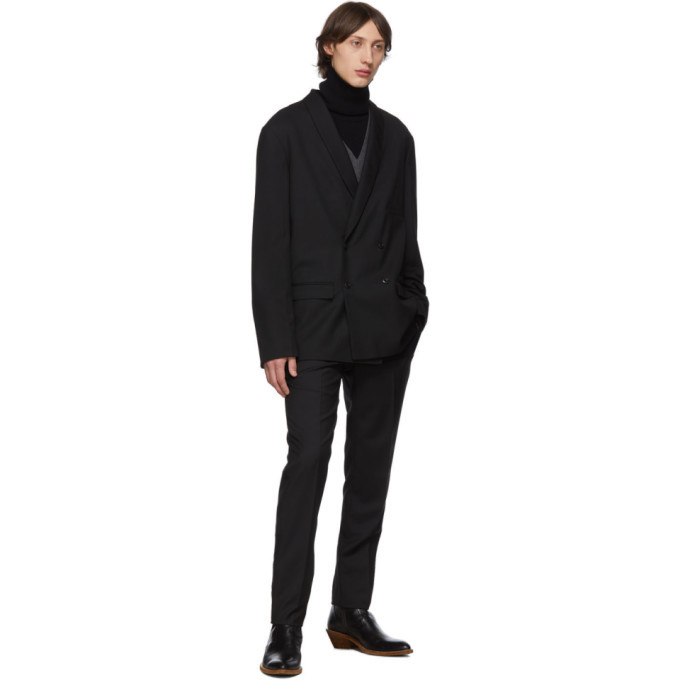 Lemaire Black Wool Double-Breasted Blazer