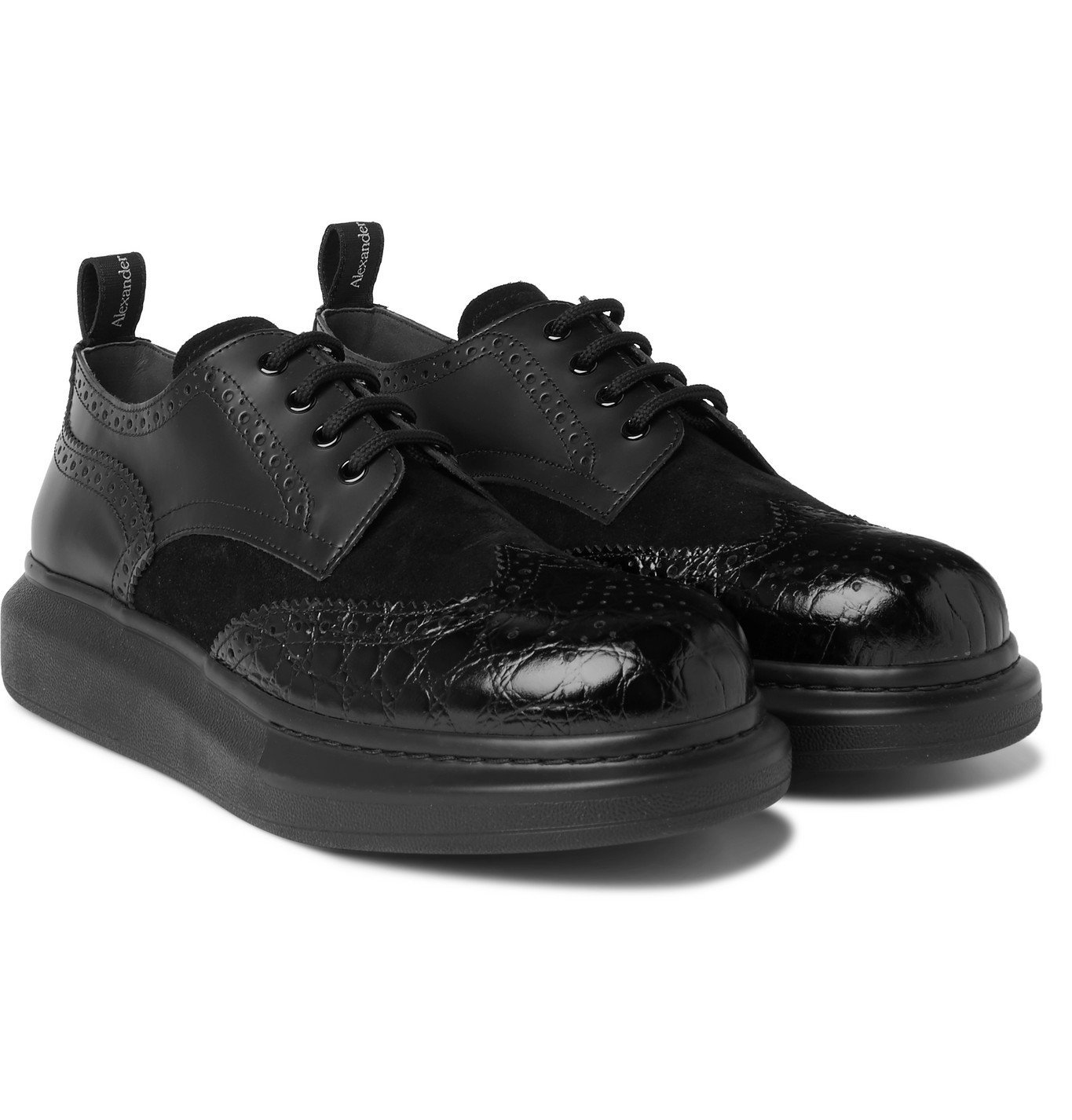 Photo: Alexander McQueen - Exaggerated-Sole Suede and Croc-Effect Leather Brogues - Black