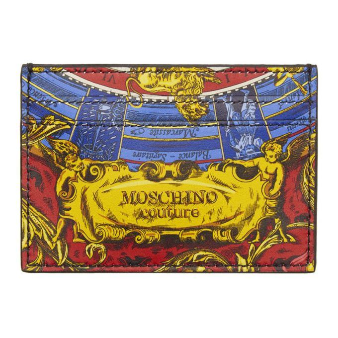 Photo: Moschino Multicolor Printed Card Holder