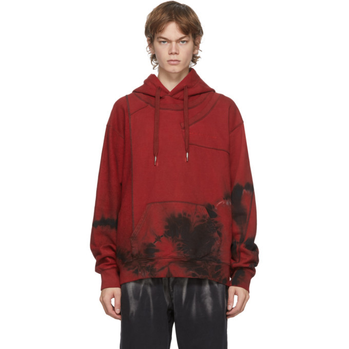 Photo: Feng Chen Wang Red Tie-Dye Panelled Hoodie