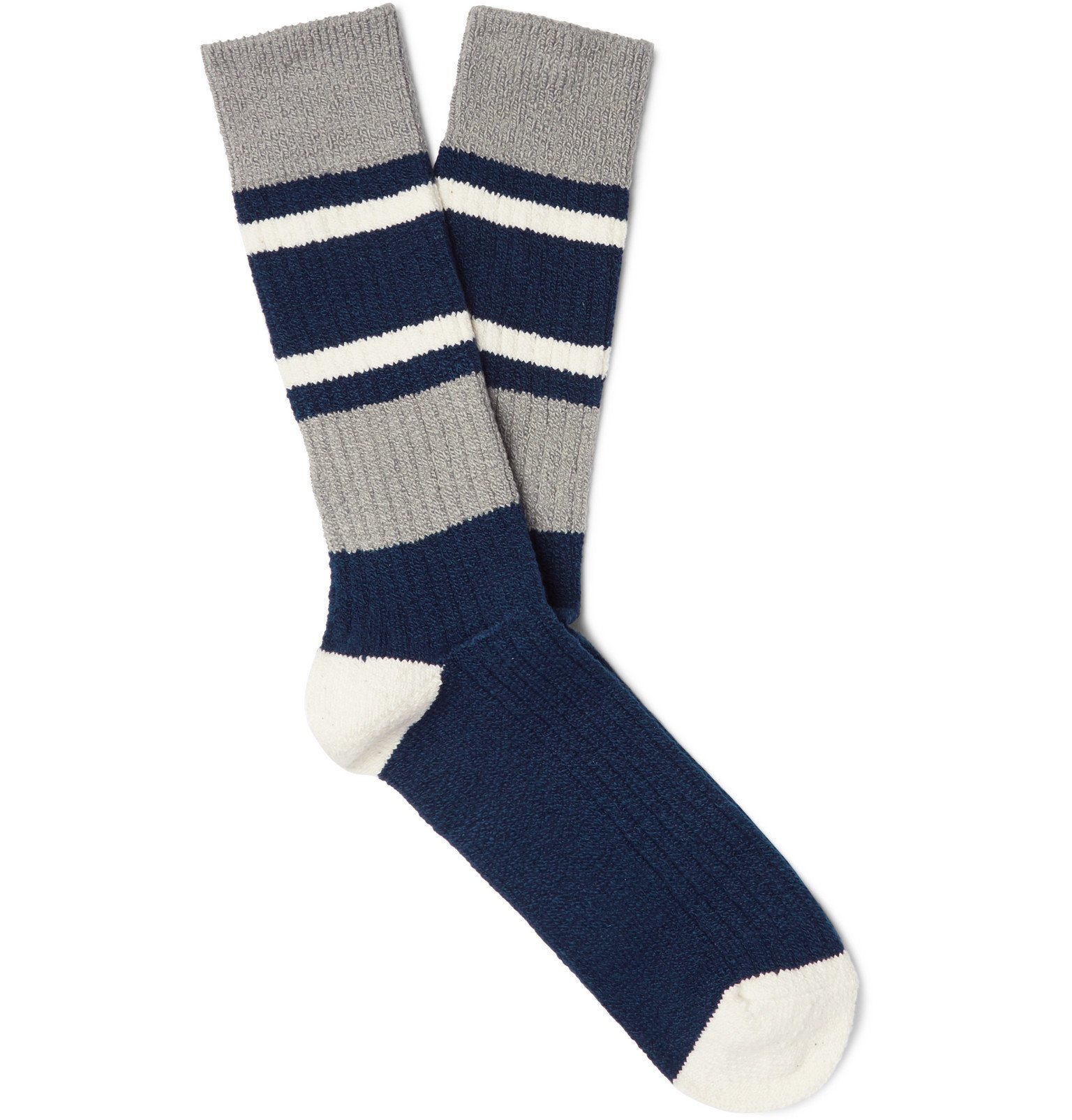 Photo: Anonymous Ism - Striped Ribbed Cotton-Blend Socks - Blue