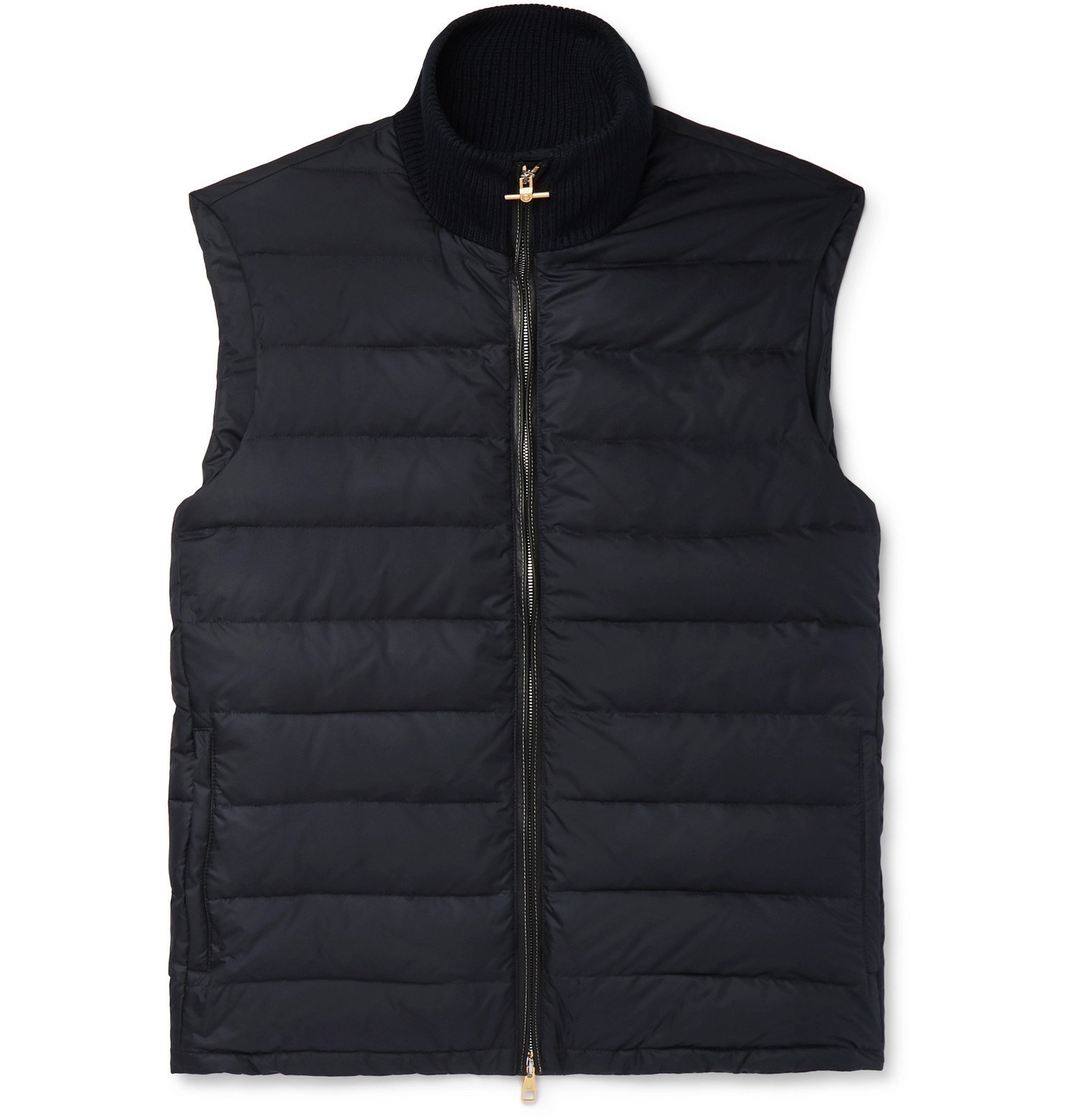 Dunhill - Leather-Trimmed Quilted Shell Down Gilet - Blue