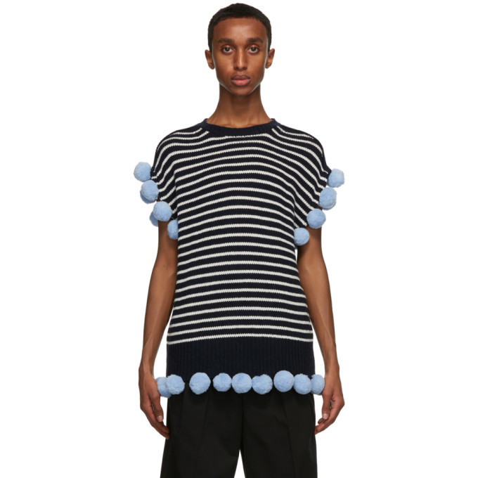 Photo: JW Anderson Navy and Off-White Wool Pom-Pom Sleeveless Sweater