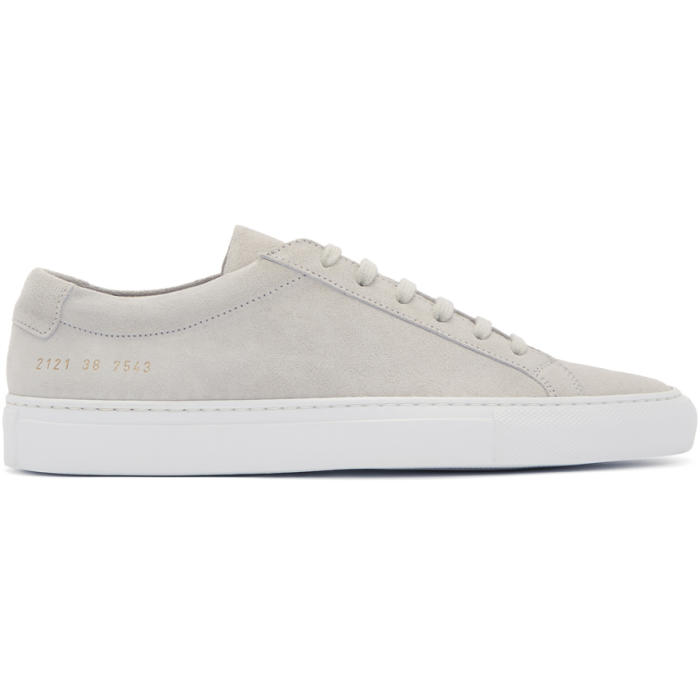 Common Projects Grey and White Suede Original Achilles Low Sneakers