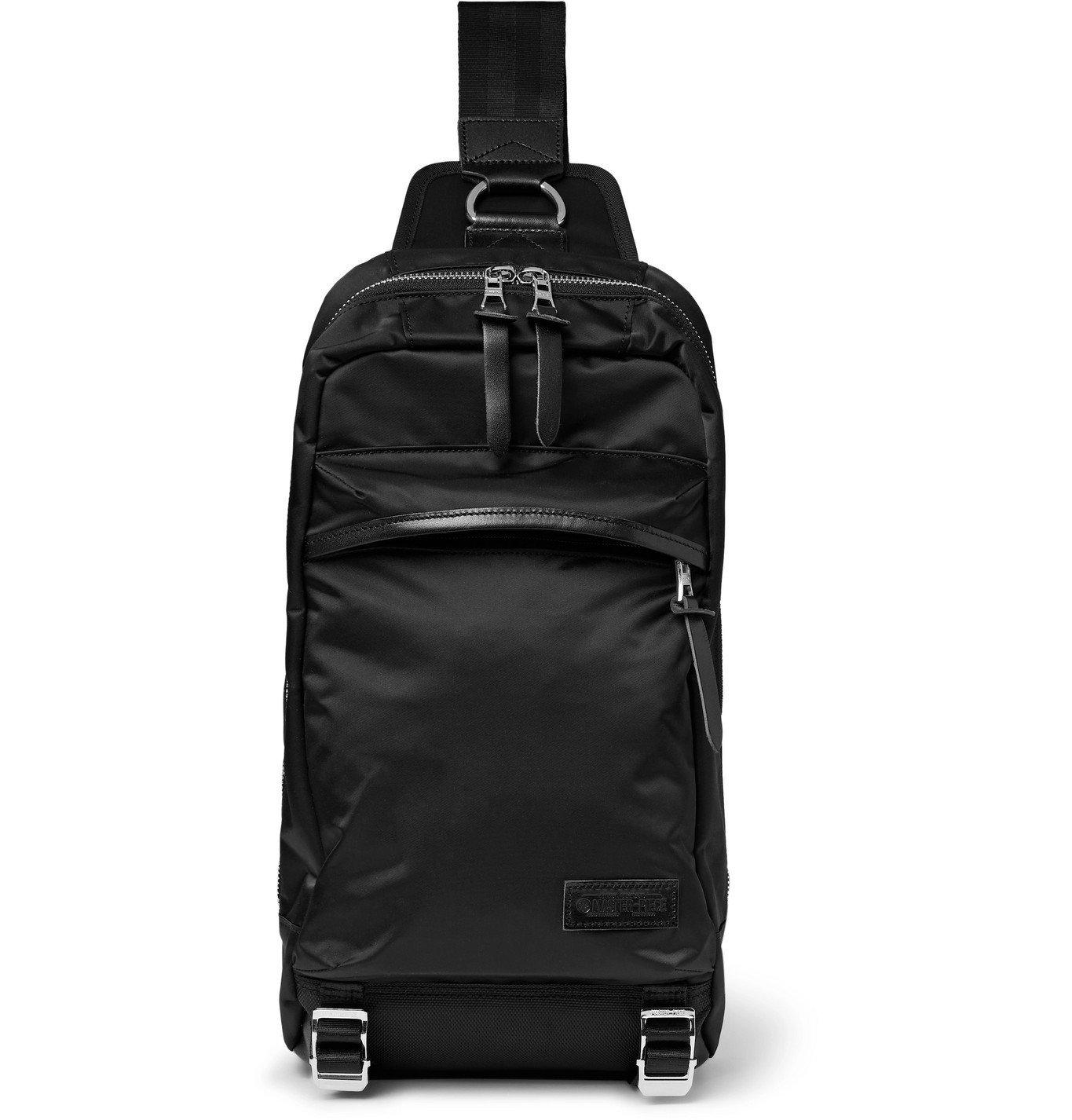 Photo: Master-Piece - Lightning Leather-Trimmed Nylon-Twill Sling Backpack - Black