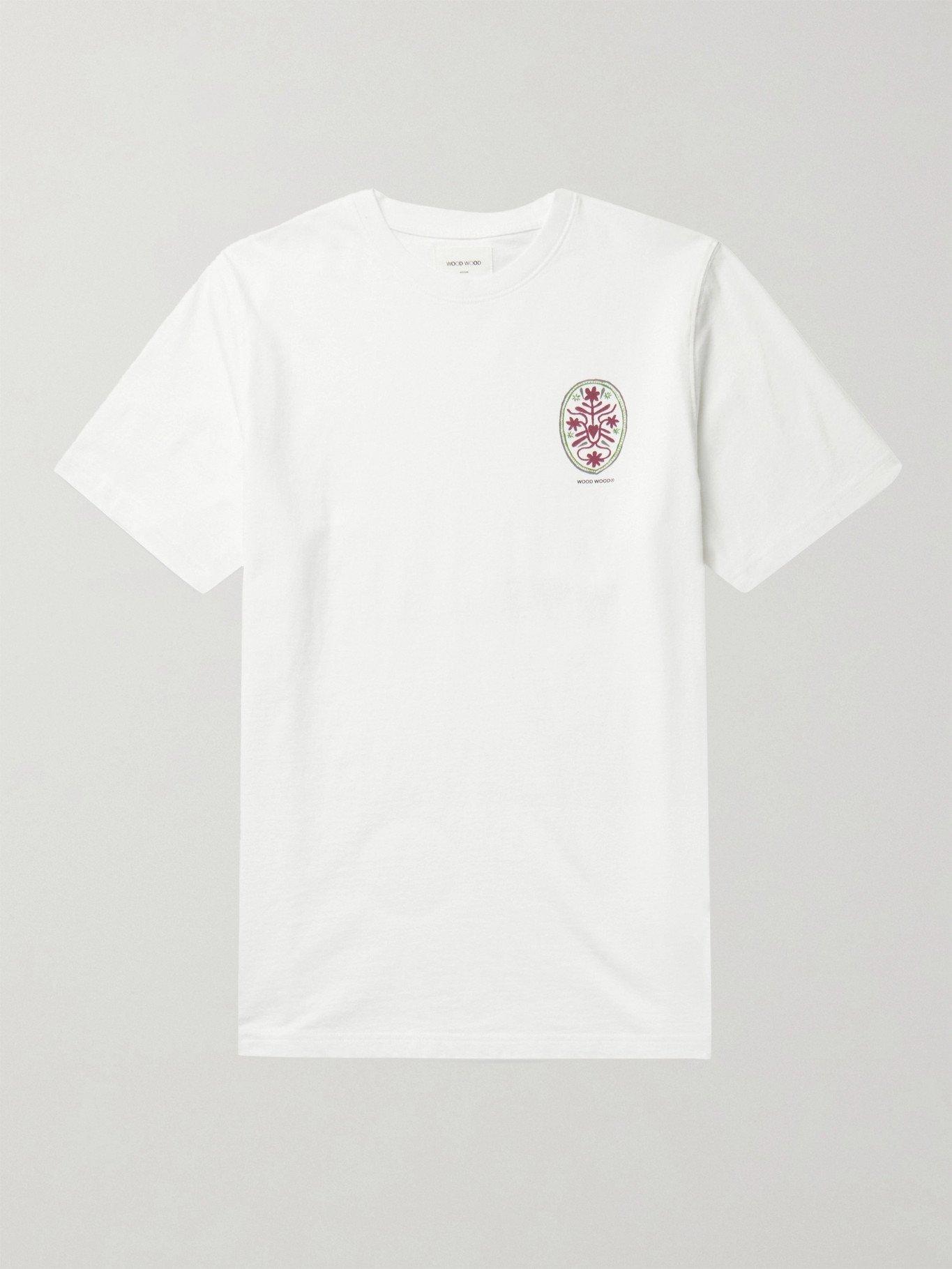 Photo: Wood Wood - Sami Printed Organic Cotton-Jersey T-Shirt - White