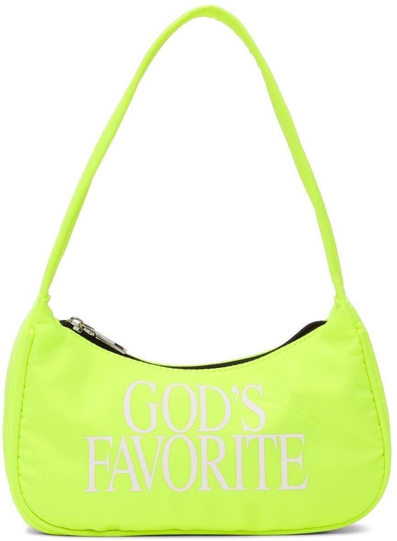 Photo: Praying SSENSE Exclusive Yellow Print 'God's Favourite' Bag