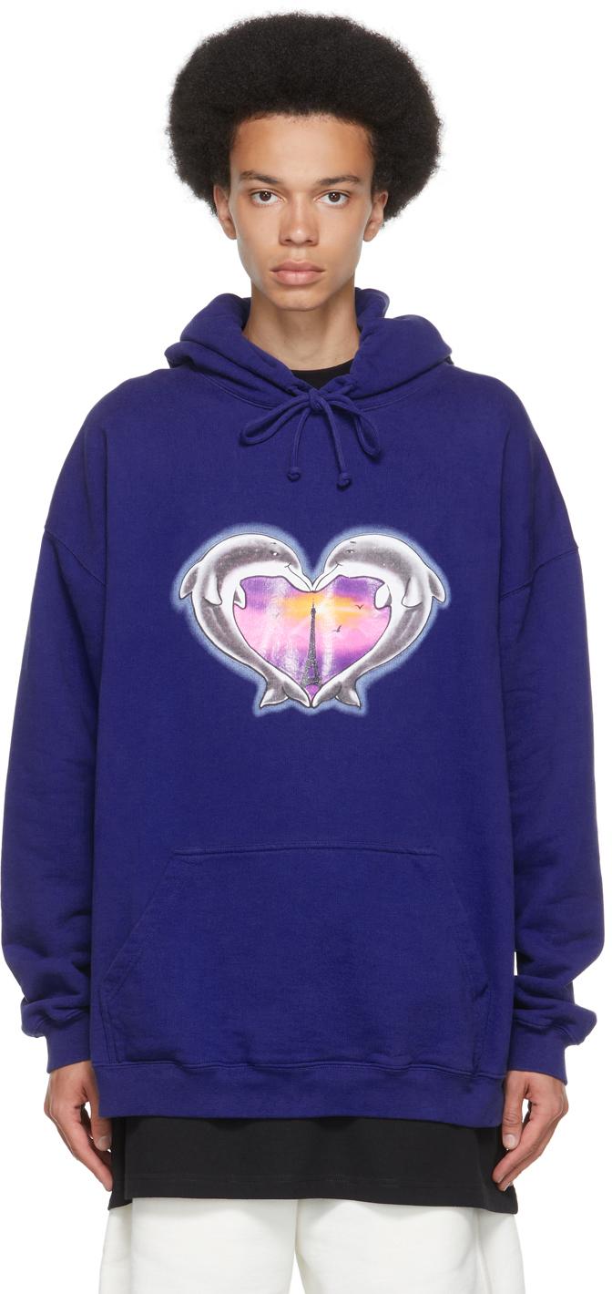 Photo: VETEMENTS Blue Dolphins Heart Logo Hoodie