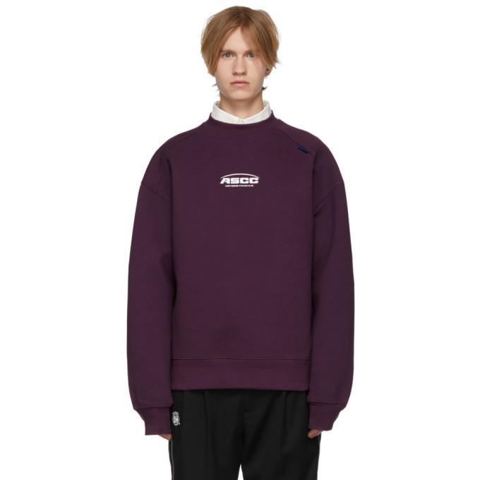 Photo: ADER error SSENSE Exclusive Purple ASCC Unbalanced Yoke Sweatshirt