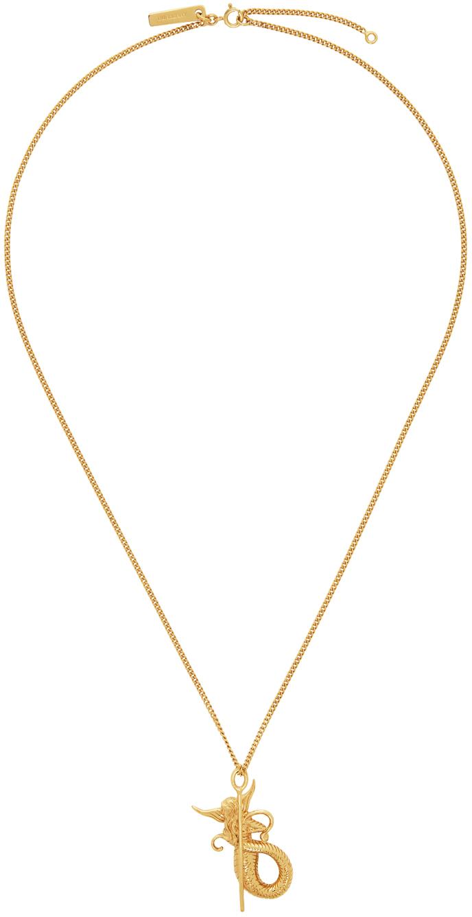Photo: Burberry Gold Mythical Alphabet Mermaid Pendant Necklace